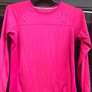 Nike Running Pink Athletic Long Sleeves Shirt SZ M
